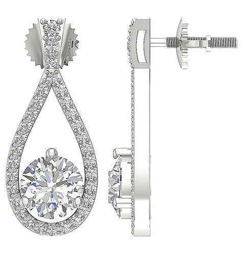 Genuine Diamond Earring Set 14k White Gold