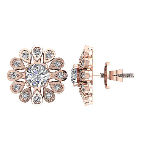 Genuine Diamond Earring Set 14k Rose Gold