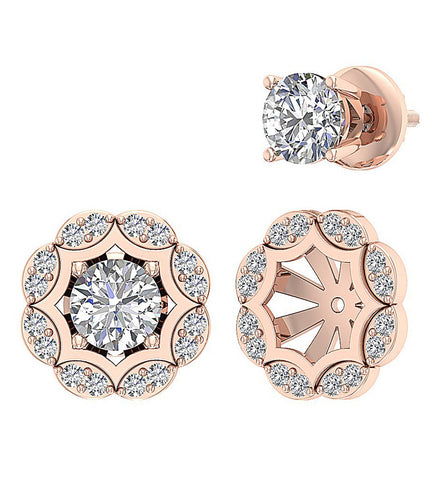Natural Diamond Earring Set 14k Rose Gold