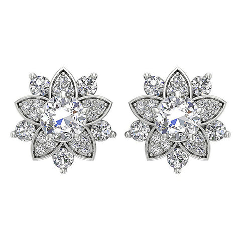 Antique Style Earring Set 14k White Gold