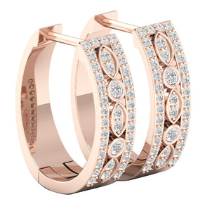 14k Rose Gold Unique Style Earring Set