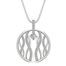 Load image into Gallery viewer, Round Diamond Pendant 14k White Gold