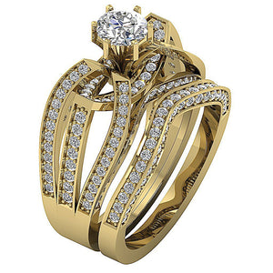 Natural Diamond Bridal Ring Set 14k Yellow Gold