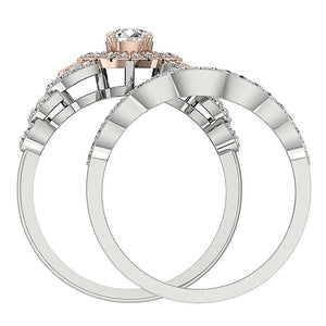 Unique Style Bridal Ring Set 14k Solid Gold