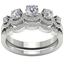 Load image into Gallery viewer, Bridal Anniversary Ring Set 14k White Gold