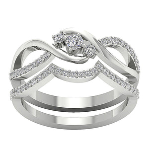 Natural Diamond Bridal Ring Set 14k Solid Gold