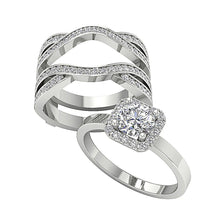 Load image into Gallery viewer, Genuine Diamond Bridal Ring Set 14k Solid Gold
