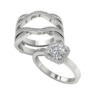 Genuine Diamond Bridal Ring Set 14k Solid Gold