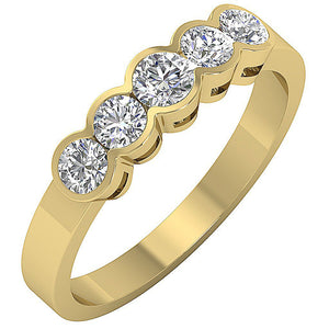 Designer Five Stone Ring 14k Solid Gold