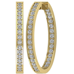 Inside Outside Hoop Earring Set 14k Solid Gold