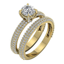 Load image into Gallery viewer, Genuine Diamond Bridal Ring Set 14k Yellow Gold