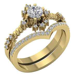 Genuine Diamond Ring Set 14k Solid Gold