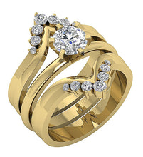 Load image into Gallery viewer, Genuine Diamond Ring Set 14k Solid Gold