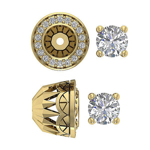 Round Diamond Earring Set 14k Solid Gold