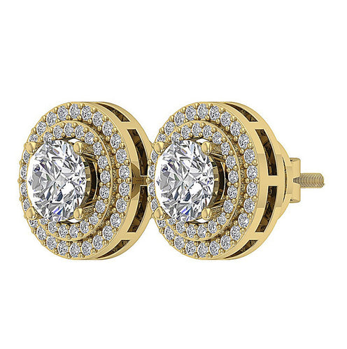 Genuine Diamond Earring Set 14k Solid Gold