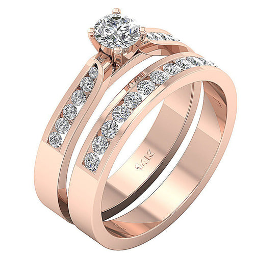 Side View 14k Rose Gold Anniversary Ring-CR-115