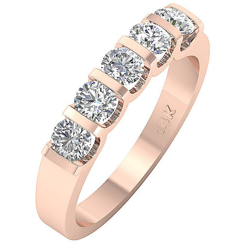 Round Cut Anniversary 14k Rose Gold Ring-DFR3