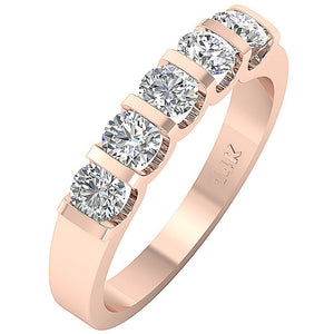 Designer Five Stone Anniversary Ring I1 G 1.01 ct 14k Yellow Gold Bar Set Natural Diamond