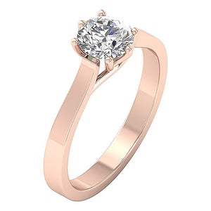 Six Prong Set Rose Gold Solitaire Wedding Ring-SR-1105-3
