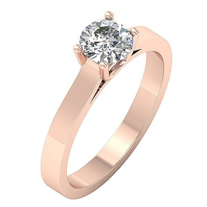 14k Gold Single Solitaire Ring Side View-SR-664-0.80-4