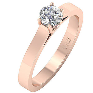Solitaire Wedding Rose Gold Ring Side View-SR-664-4