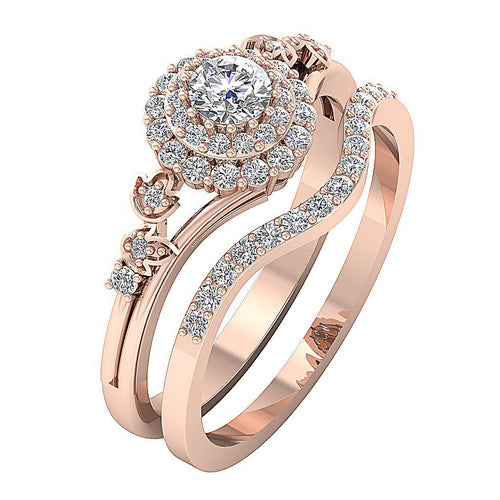 Designer Bridal Ring Set 14k Rose Gold-DCR113