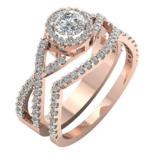 Load image into Gallery viewer, Designer Halo Anniversary Ring 14k Rose Gold-DCR133