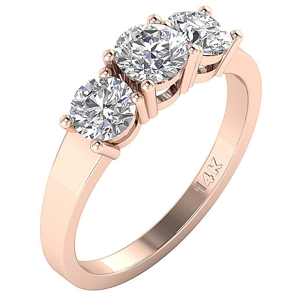 Three Stone Engagement Ring Natural Diamond I1 G 1.50Ct Prong Set 14k White Yellow Rose Gold 5.25MM