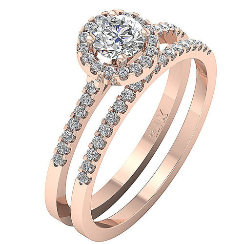 Halo Bridal Ring Set 14k Rose Gold-CR-133