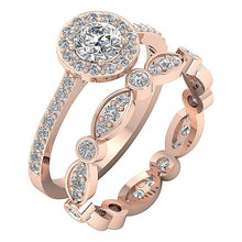 Load image into Gallery viewer, Prong & Bezel Set 14k Rose Gold Halo Bridal Ring Set-CR-214