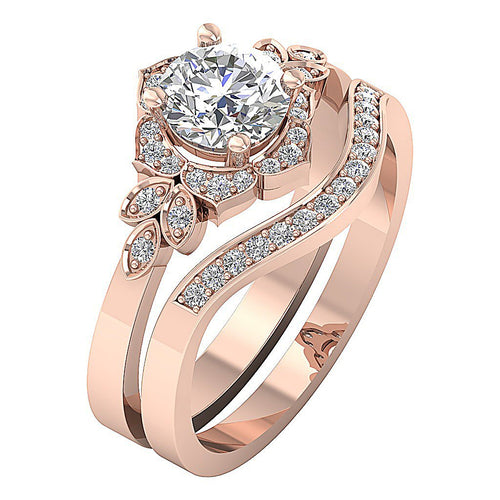 14k Rose Gold Natural Diamond Halo Bridal Ring Set-DCR124