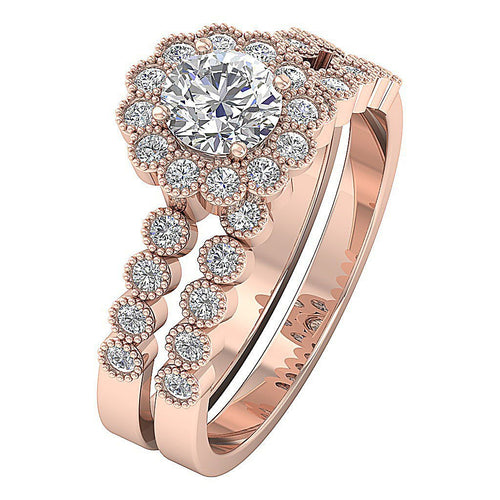 Halo Bridal Ring Set 14k Rose Gold-DCR135