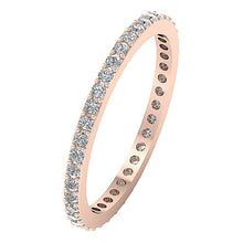 Load image into Gallery viewer, 14k Yellow Gold Stackable Wedding Eternity Ring SI1 G 0.55 ct Natural Diamond Prong Set 2.15MM
