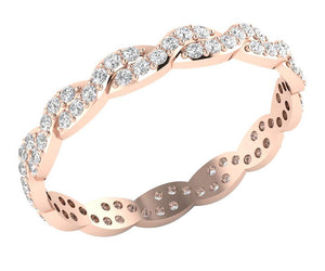 Stackable Wedding Eternity Ring 14k Rose Gold I1 G 0.75 ct Natural Diamond