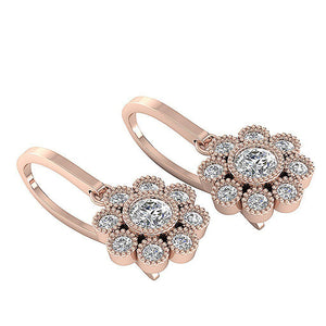 Length 1.29inch Rose Gold Halo Earrings-DE108