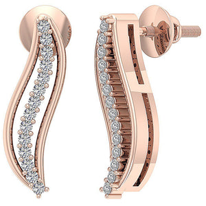 Screw Back Earrings Rose GOld-DE179