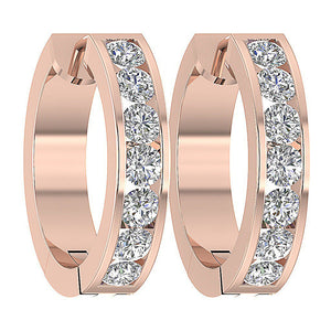 Large Hoops Earrings Natural Diamonds I1 / SI1 G 1.50 Ct 14k White Yellow Rose Gold Channel Set