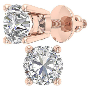 4 Prong Set Natural Diamond Earring 14k Gold-DST45-2.50-6