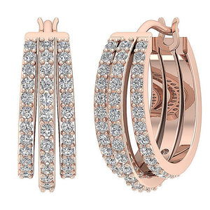 Large Hoops Earrings SI1 G 1.00 Ct Natural Diamonds 14k White Yellow Gold