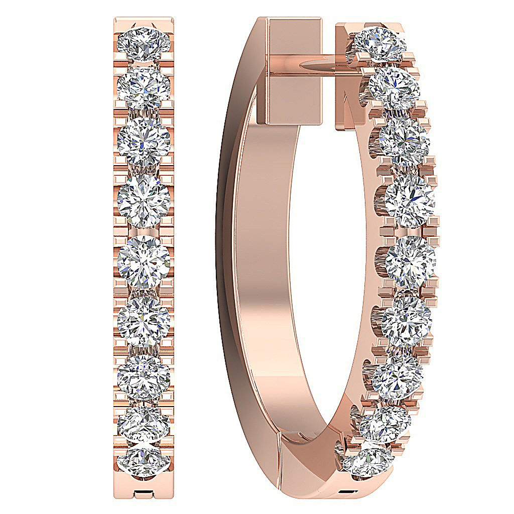 Small Hoop Earrings 14k White Yellow Rose Gold I1 G 0.25 Ct Natural Diamonds Pave Set 0.59 Inch