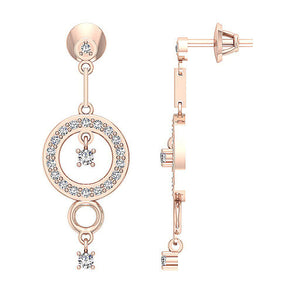 14k Rose Gold Side View And Front View Round Diamonds Earrings-E-734