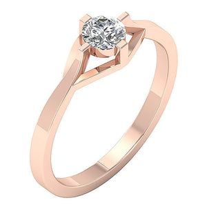 Prong Set Rose Gold Solitaire Engagement Ring-SR-752-4