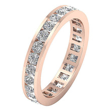 Load image into Gallery viewer, Channel Set Genuine Diamond 14k Rose Gold Ring-DETR172-4