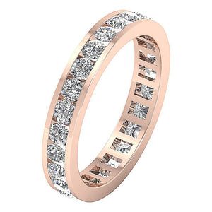 Channel Set Genuine Diamond 14k Rose Gold Ring-DETR172-4