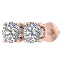 Load image into Gallery viewer, Natural Diamond 14k Rose Gold Studs Earring-DST45-2.50-9