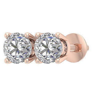 Natural Diamond 14k Rose Gold Studs Earring-DST45-2.50-9