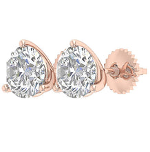 Load image into Gallery viewer, Genuine Diamond 14k Rose Gold Studs Earring-E-435-2.10-11