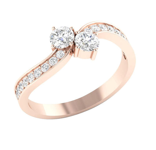 Rose Gold Two Stone Ring-DSR309