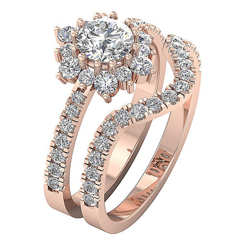 14k Rose Gold Vintage Halo Anniversary Ring-CR-213