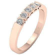 Load image into Gallery viewer, Designer Five Stone Anniversary Ring SI1 G 0.50 ct Natural Diamond 14k Rose Gold Bar Set
